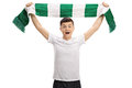 Overjoyed Teenage Football Fan Holding A Scarf Stock Photography - 90278532