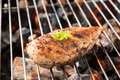 Grilled Chicken Breast On The Flaming Grill Stock Photo - 90279710