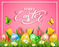 Easter Eggs With Butterflies And Tulips On Pink Background Royalty Free Stock Photography - 90282327
