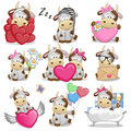 Set Of Cute Cartoon Cow Stock Images - 90293434