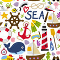 Seamless Pattern With Nautical Element Stock Image - 90308231