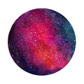 Space Cosmic Background. Colorful Watercolor Galaxy Or Night Sky With Stars. Hand Drawn Cosmos Illustration With Blobs Royalty Free Stock Image - 90323056