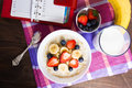 Healthy Breakfast With Oatmeal, Fruits And Milk With Planning Co Stock Images - 90324384