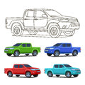 Pickup Truck Set Outline And Colored Vector Illustration Royalty Free Stock Image - 90336336