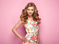 Blonde Young Woman In Floral Spring Summer Dress Royalty Free Stock Photos - 90343718