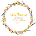 Wreath, Circle Frame Border With Yellow Dry Wildflowers, Lupine And Lavender Flowers Stock Images - 90351874