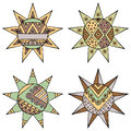 Set Of Vector Hand Drawn Decorative Stylized Vintage Brown Childish Tribal Sun With Lights. Doodle Style, Tribal Graphic Illustrat Royalty Free Stock Photo - 90360505