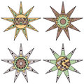Set Of Vector Hand Drawn Decorative Stylized Vintage Brown Childish Tribal Sun With Lights. Doodle Style, Tribal Graphic Illustrat Stock Photo - 90360770