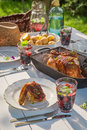 Hot Dinner With Chicken And Potatoes Served In Sunny Day Stock Images - 90368144