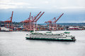 Green And White Ferry By Seattle Freight Stock Photography - 90368352