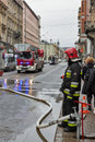 Fire In The Center Of Krakow, Poland. Royalty Free Stock Photo - 90390895