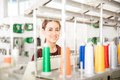 Cute Woman In A Textile Factory Stock Images - 90393964