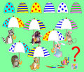 Logic Puzzle Game For Children. Find Corresponding Details And To Draw Them In Empty Places. All Umbrellas Are Identical. Stock Photography - 90399742