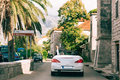 White Convertible Cabriolet In Montenegro. A Trip By Car On Mo Royalty Free Stock Image - 90403276
