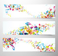 Set Of Website Banners With Colorful Music Notes. Royalty Free Stock Image - 90407946