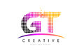GT G T Letter Logo Design With Magenta Dots And Swoosh Stock Photography - 90410782