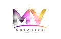 MV M V Letter Logo Design With Magenta Dots And Swoosh Royalty Free Stock Image - 90411006