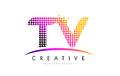 TV T V Letter Logo Design With Magenta Dots And Swoosh Stock Photos - 90411313