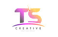 TS T S Letter Logo Design With Magenta Dots And Swoosh Royalty Free Stock Photography - 90411327