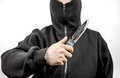 Man In Black Holding Knife Stock Photography - 90411452