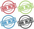 BOOK ONLINE Text, On Round Simple Stamp Sign. Royalty Free Stock Images - 90431929
