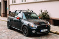 Black Color Car With Stripes Mini Cooper Clubman Parked On Street Stock Photography - 90436972