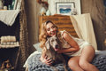 Young Woman With A Dog Royalty Free Stock Image - 90439296
