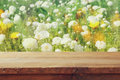 Wooden Board Table In Front Of Summer Flowers Field Stock Photography - 90454462