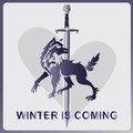 Wolf, A Sword And Heart. WINTER IS COMING Royalty Free Stock Photography - 90454817