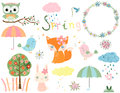Spring Animals And Design Elements Royalty Free Stock Images - 90458659