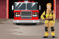 Female Firefighter In Front Of Fire Station Royalty Free Stock Image - 90460366