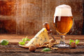 Blue Cheese Appetizer And Beer On Brown Vintage Background Stock Photos - 90460673