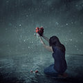 Broken Heart During Rain Storm Royalty Free Stock Images - 90461999