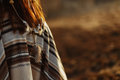 Back Of Native Indian American Woman Walking In Mountains In Eve Stock Image - 90474291