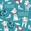 Sailor Terrier Dog Seamless Pattern. Royalty Free Stock Photo - 90478735