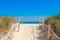 Path On The Sand Going To The Ocean In Miami Beach Stock Image - 90498161