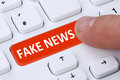 Fake News Truth Lie Media Internet Button Online Finger Computer Royalty Free Stock Image - 90528016