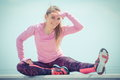 Girl In Sporty Clothes Exercising And Looking Into Distance By The Sea, Healthy Active Lifestyle Stock Image - 90541211