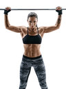 Woman With Athletic Body Doing Exercises With Barbell Isolated On White Background. Royalty Free Stock Photo - 90570295
