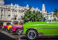 HDR - Beautiful American Convertible Vintage Cars Parked In Havana Cuba - Serie Cuba Reportage Stock Photos - 90589773