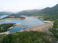 Aerial View Over Hong Kong Tai Lam Chung Reservoir Under Smokey Weather Stock Photo - 90616910