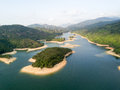 Aerial View Over Hong Kong Tai Lam Chung Reservoir Under Smokey Weather Stock Image - 90617021