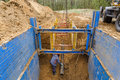 Installation Of Metal Supports To Protect The Walls Of The Trench. Royalty Free Stock Photography - 90619997