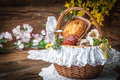 Traditional Easter Basket With Food. Stock Photography - 90620552