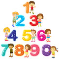 Children And Numbers One To Zero Royalty Free Stock Image - 90638976