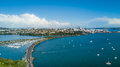 Aerial View On Auckland City Center Over Waitemata Harbour. New Zealand Royalty Free Stock Photo - 90651625