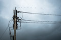 Electricity Post Before Rain. Royalty Free Stock Photography - 90665567