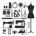 Sewing Kits Icons Set, Monochrome Royalty Free Stock Photos - 90683748