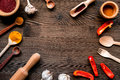 Professional Kitchen With Spices For Cook On Wooden Background Top View Mockup Royalty Free Stock Photos - 90691348