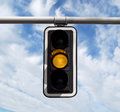 Traffic Light - Yellow Against Sky Stock Image - 90697121